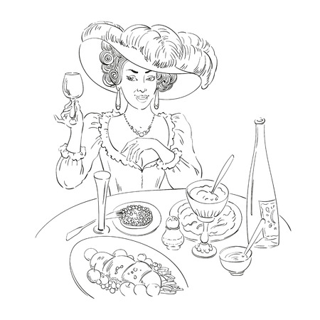 Drawing of woman in restaurant