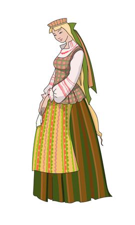 Lithuanian girl in national costume Illustration