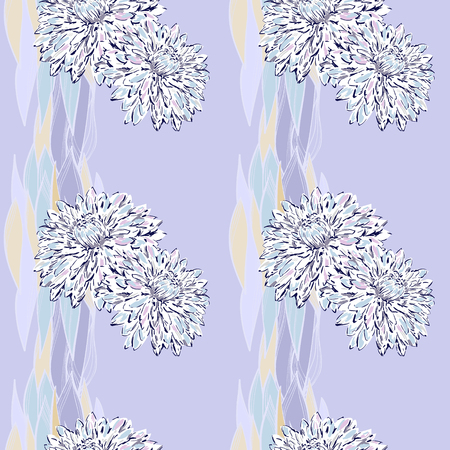 Soft seamless for wallpaper and for textile, dahlia by line, fantasy for the design of something Ilustrace