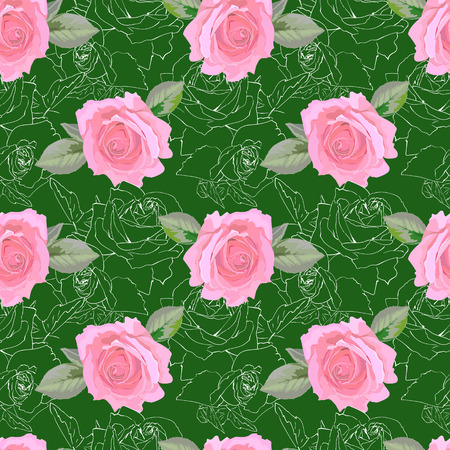 Bright pattern with roses, watercolor style Ilustrace