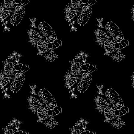 Abstract flowers for monochrome seamless