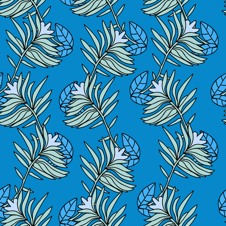 Simple blue seamless, folk style Ilustrace