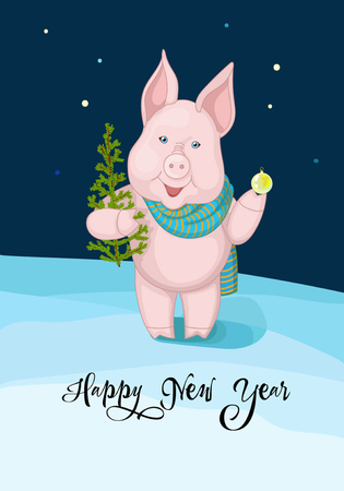 Congratulation with New Year, pink piggy, snow and christmas tree
