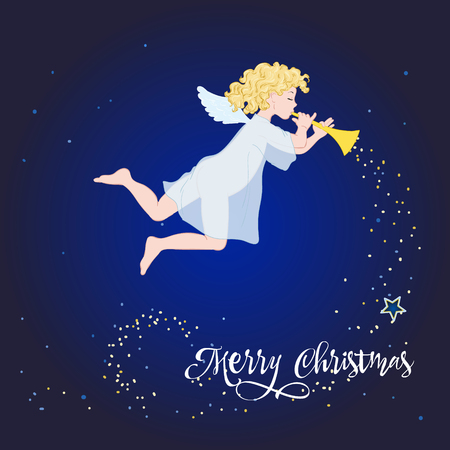 Card with New Year and Merry Christmas, little angel in deep night sky