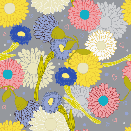 Folklore style, bright flowers on gray background