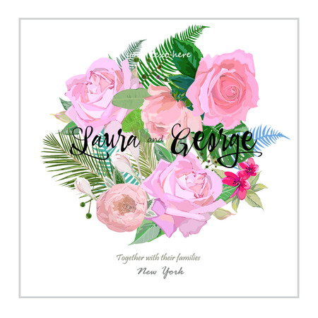 Card for newlyweds, floral bouquet with pink roses Ilustrace