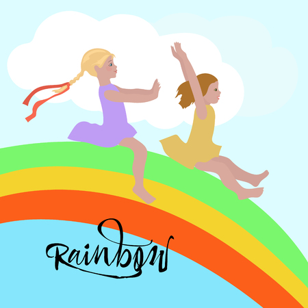 Children on rainbow, ride it