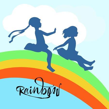 Silhouette of girls on rainbow, riding on it Ilustrace