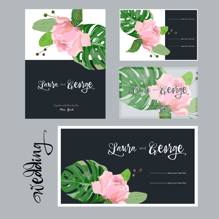 Collection of cards for wedding, pink rose, contrast background Ilustrace