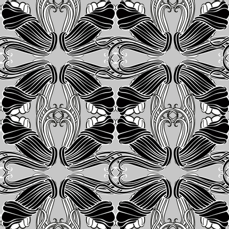 Monochrome pattern, baroque style, seamless for design Ilustrace