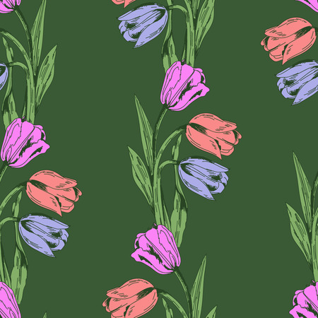 Pattern for textile and for wallpaper, tulip on green background Ilustrace