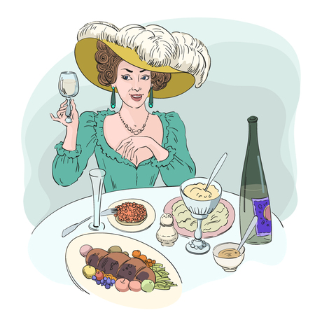 Beautiful woman at the table, food and wine, vector picture