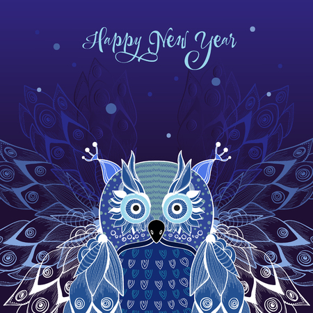 Card for New Year with owl, deep background Ilustrace
