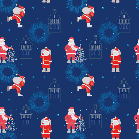 Pattern for a wrapping paper, deep blue background, Santa Claus