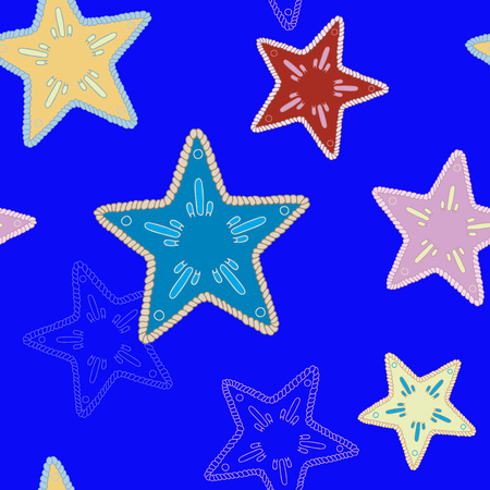 Stars on deep blue background, pattern for paper, New Year