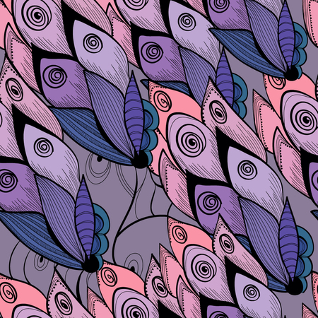 Floral seamless, stylized drawing, pink and blue colos Banco de Imagens - 127404071