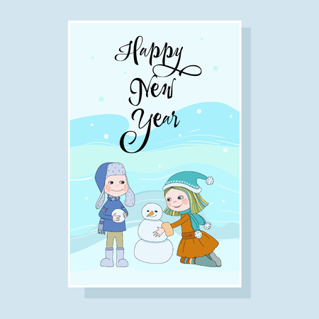 Joyful holiday on card, boy and girl with snow man