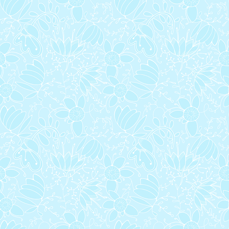 Blue winter pattern for wallpaper, fancy flowers