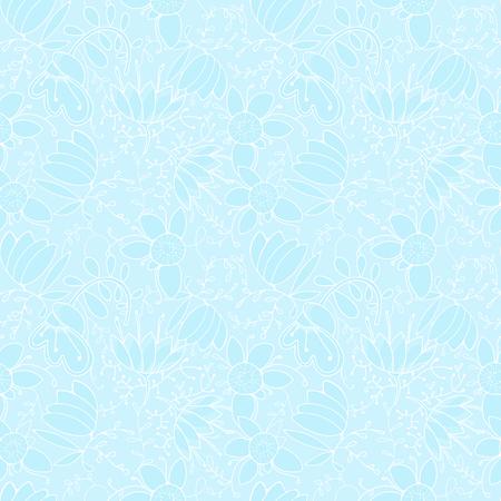 Blue winter pattern for wallpaper, fancy flowers