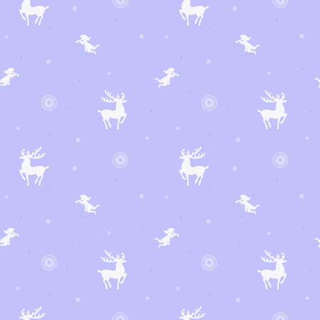 White silhouette on blue background, deer and angel, seamless for New Year