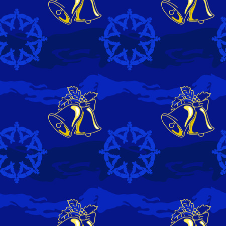 Deep blue background, bell and snowflake, pattern for decor