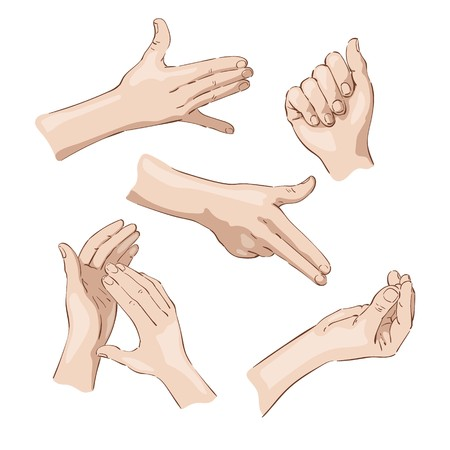 Different hand positions, icons, color drawings