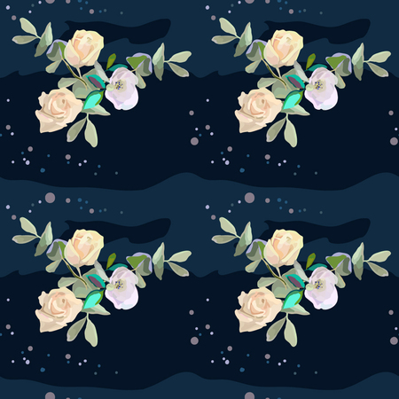 Yellow roses on deep background, seamless for textile, vector
