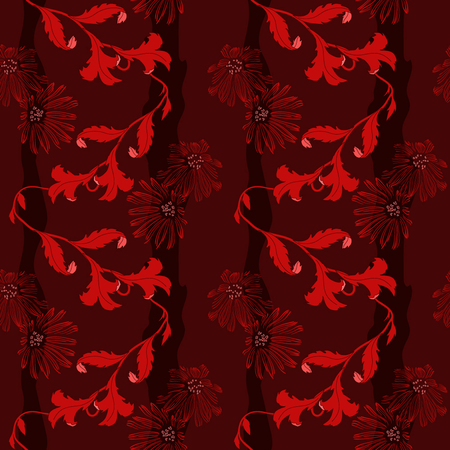 Deep maroon background with style flowers, design for textile Ilustrace