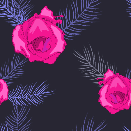 Drawing of red roses on deep background, endless for design