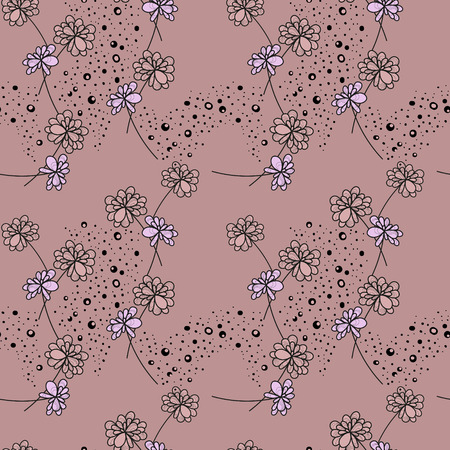 Abstract drawing of style flowers, vector drawing  of endless , for textile