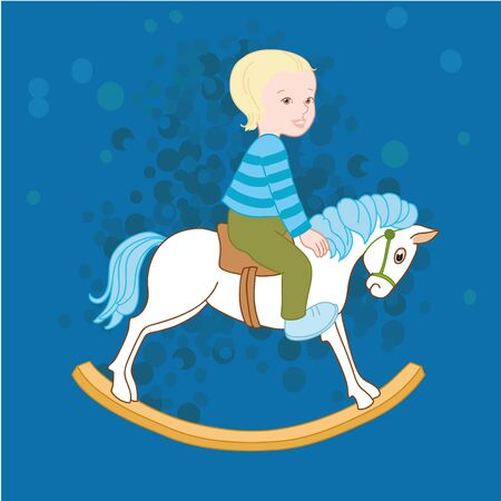 Little boy on the horse, baby shower