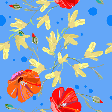 Spring pattern for textile, bright red and yellow flowers