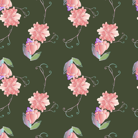 Pattern for summer textile with style flowers, pink roses, drawing for wallpaper and fabric