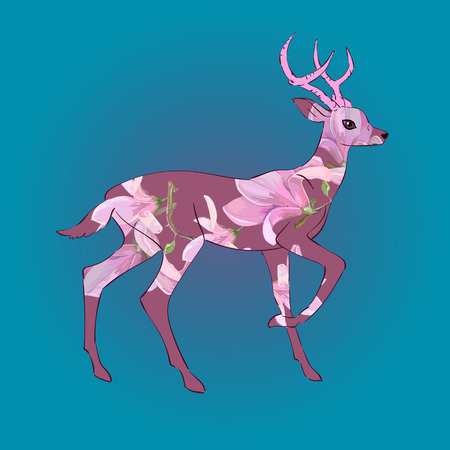 Deer on blue background, vector, icon, drawing for card