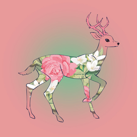 Fairy deer , decor style, vector, pink spring