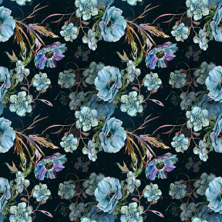 Blue flowers by watercolor on pattern for textile Banco de Imagens