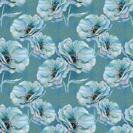 Blue poppy on blue background, seamless