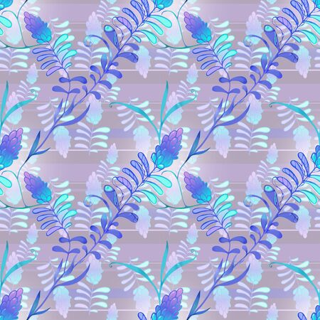Lilac drawing of fancy flowers, endless for textile Banco de Imagens - 137963365