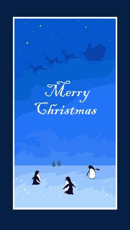 Penquins on the ice and Santa Claus, card for New Year Banco de Imagens - 137466701