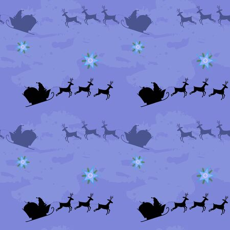 Santa claus and deers are flying in the sky Ilustração
