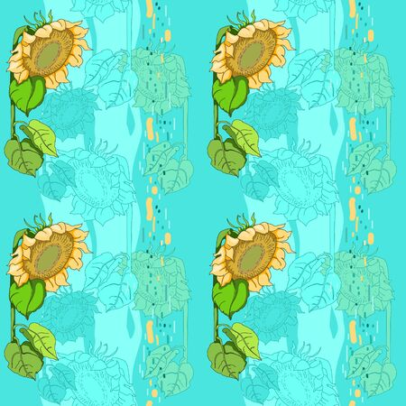 Yellow flower on pattern, sunflowers on the blue Banco de Imagens - 137466708