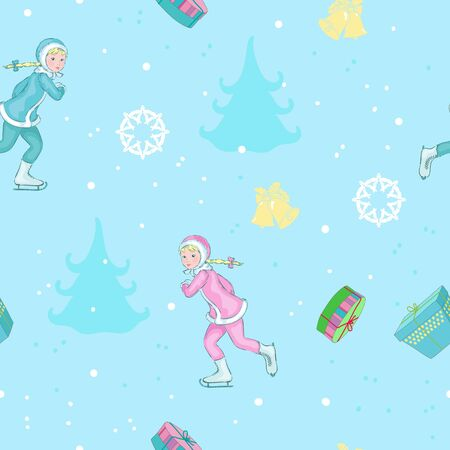 Little girls on seamless are skating, pattern for winter