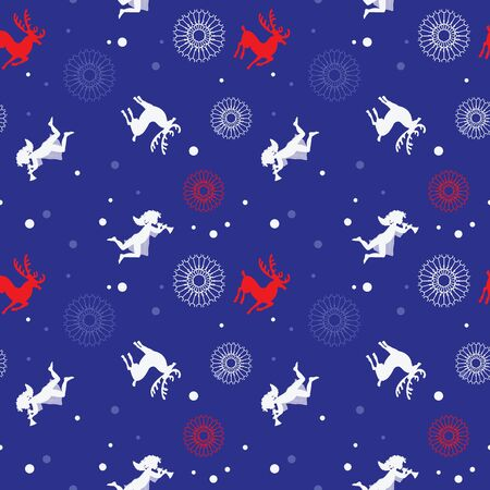 angels and deers on pattern for New Year Banco de Imagens - 137466710