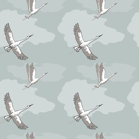 Crane in the sky, endless pattern for textile