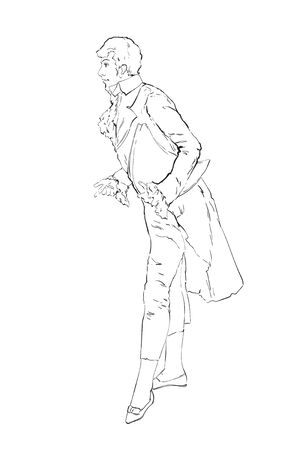 Secular dandy, a drawing of a man in a costume of the 18th century Ilustrace