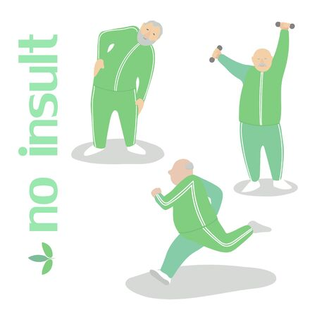 Old fat man does exercise, green costume, vector drawing