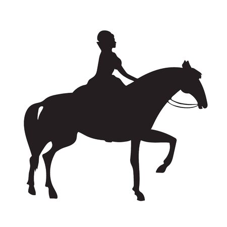 Horsewoman on horse, 16th century, blanket and attributes of the nobility, silhouette