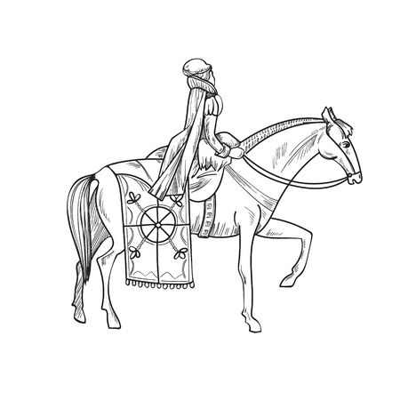 Horsewoman on horse, 16th century, blanket and attributes of the nobility
