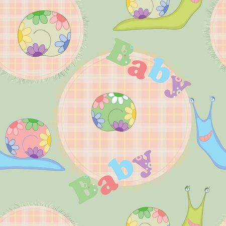 Bright pattern with snails for baby, seamless for textile and paper