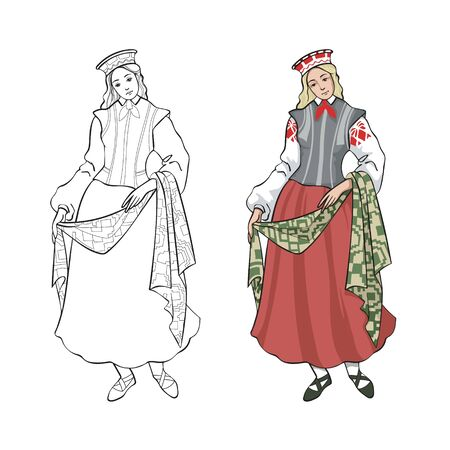 Folk women's costume, Baltic countries, color and line drawing